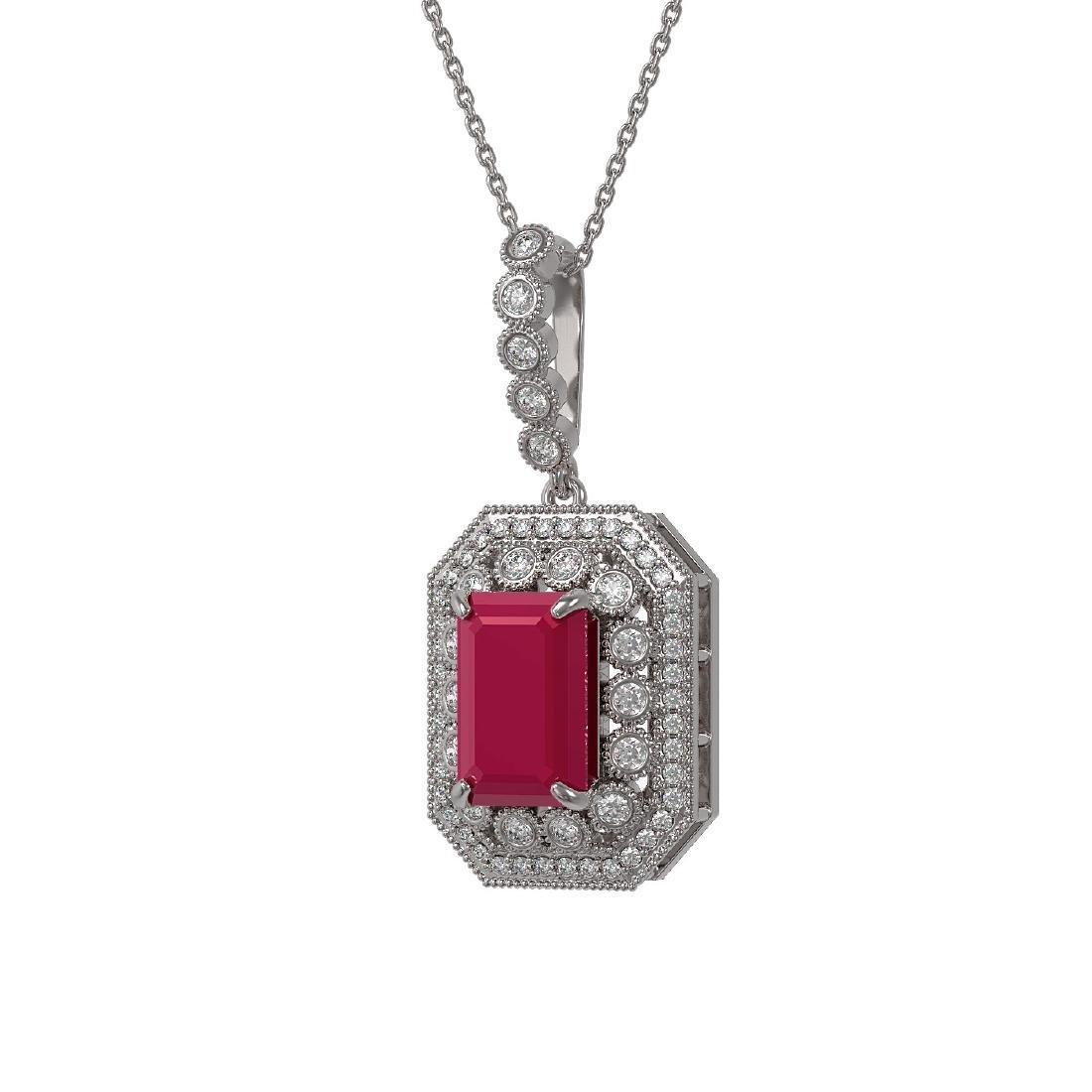 7.18 ctw Ruby & Diamond Necklace 14K White Gold -