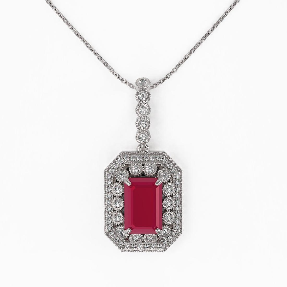7.18 ctw Ruby & Diamond Necklace 14K White Gold - - 2