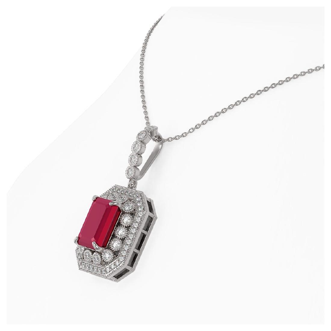 7.18 ctw Ruby & Diamond Necklace 14K White Gold - - 3