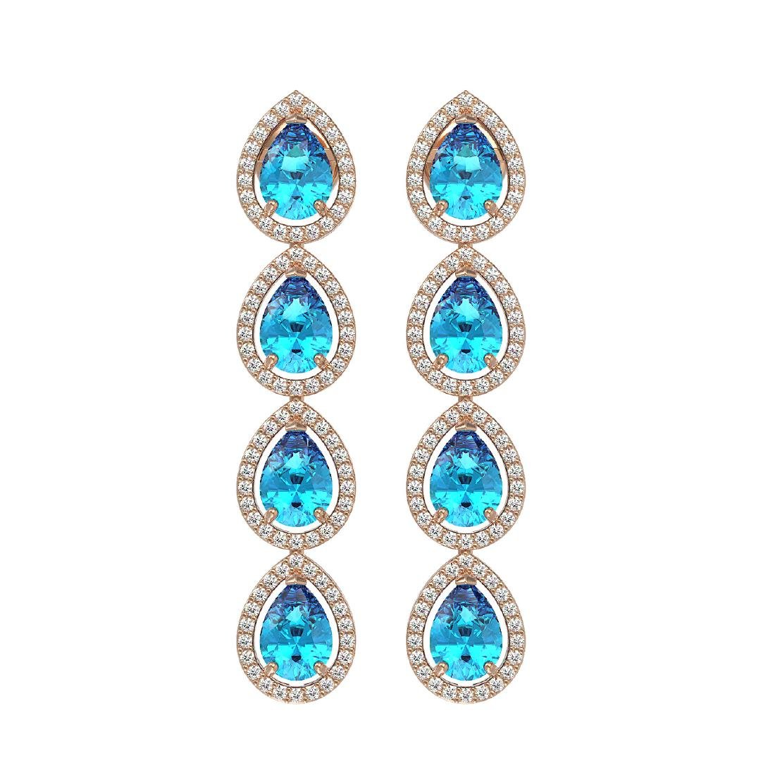 7.81 ctw Swiss Topaz & Diamond Halo Earrings 10K Rose