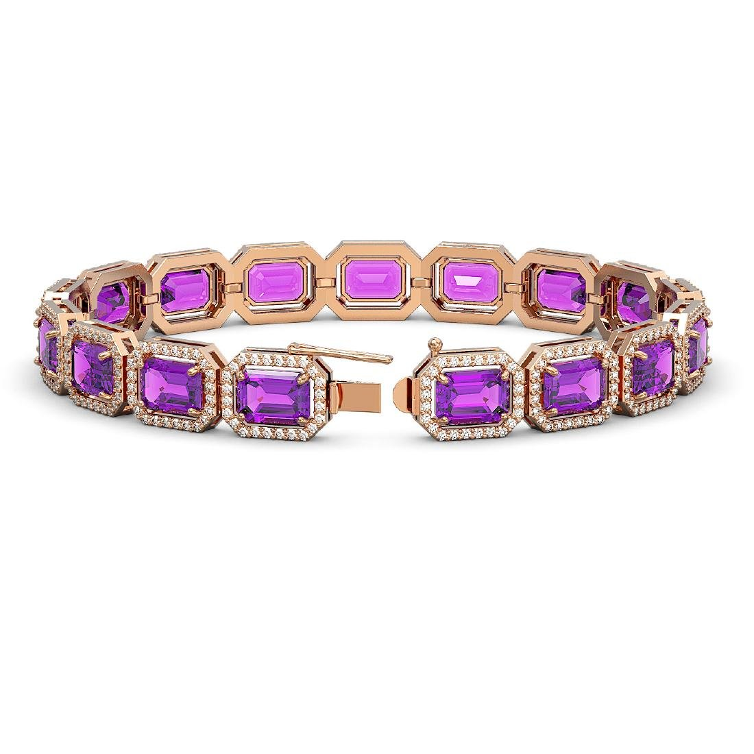 22.81 ctw Amethyst & Diamond Halo Bracelet 10K Rose - 2