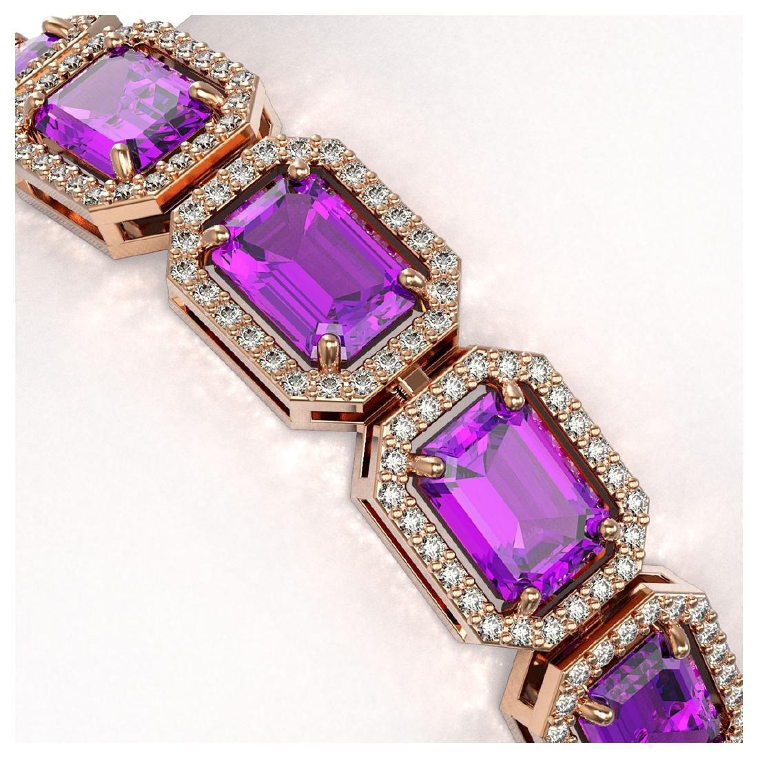 22.81 ctw Amethyst & Diamond Halo Bracelet 10K Rose - 3
