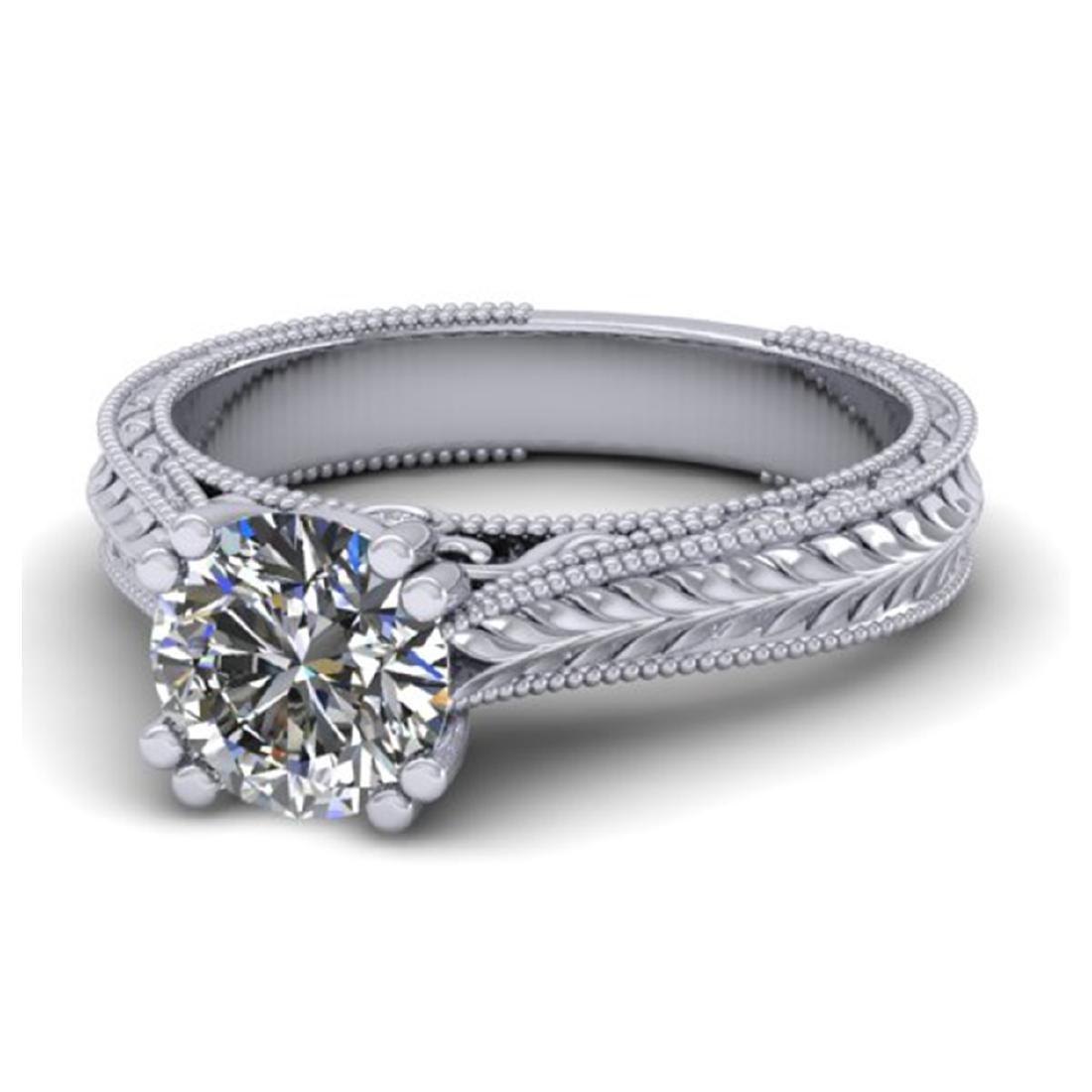 1.06 ctw Solitaire VS/SI Diamond Ring 14K White Gold - - 2