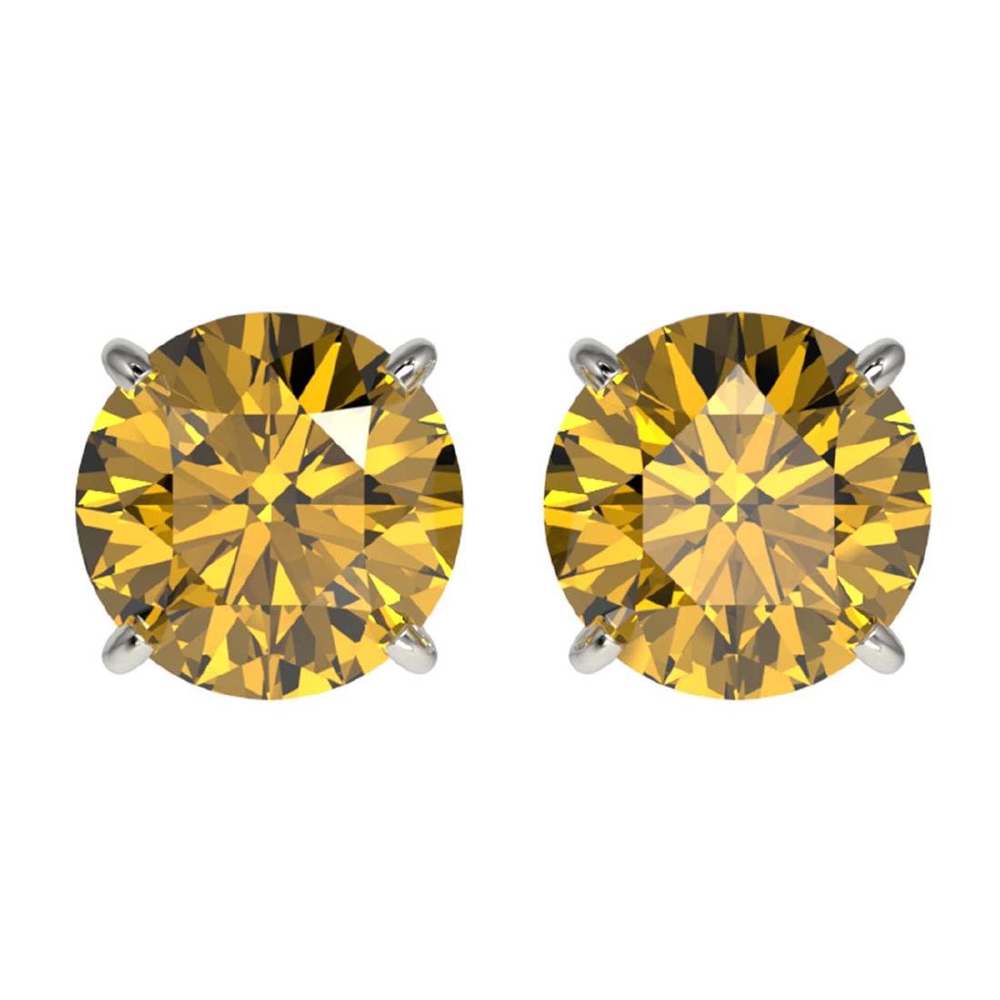 2 ctw Intense Yellow Diamond Stud Earrings 10K White