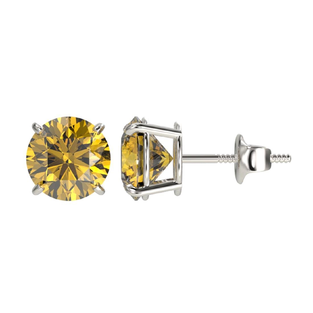 2 ctw Intense Yellow Diamond Stud Earrings 10K White - 2