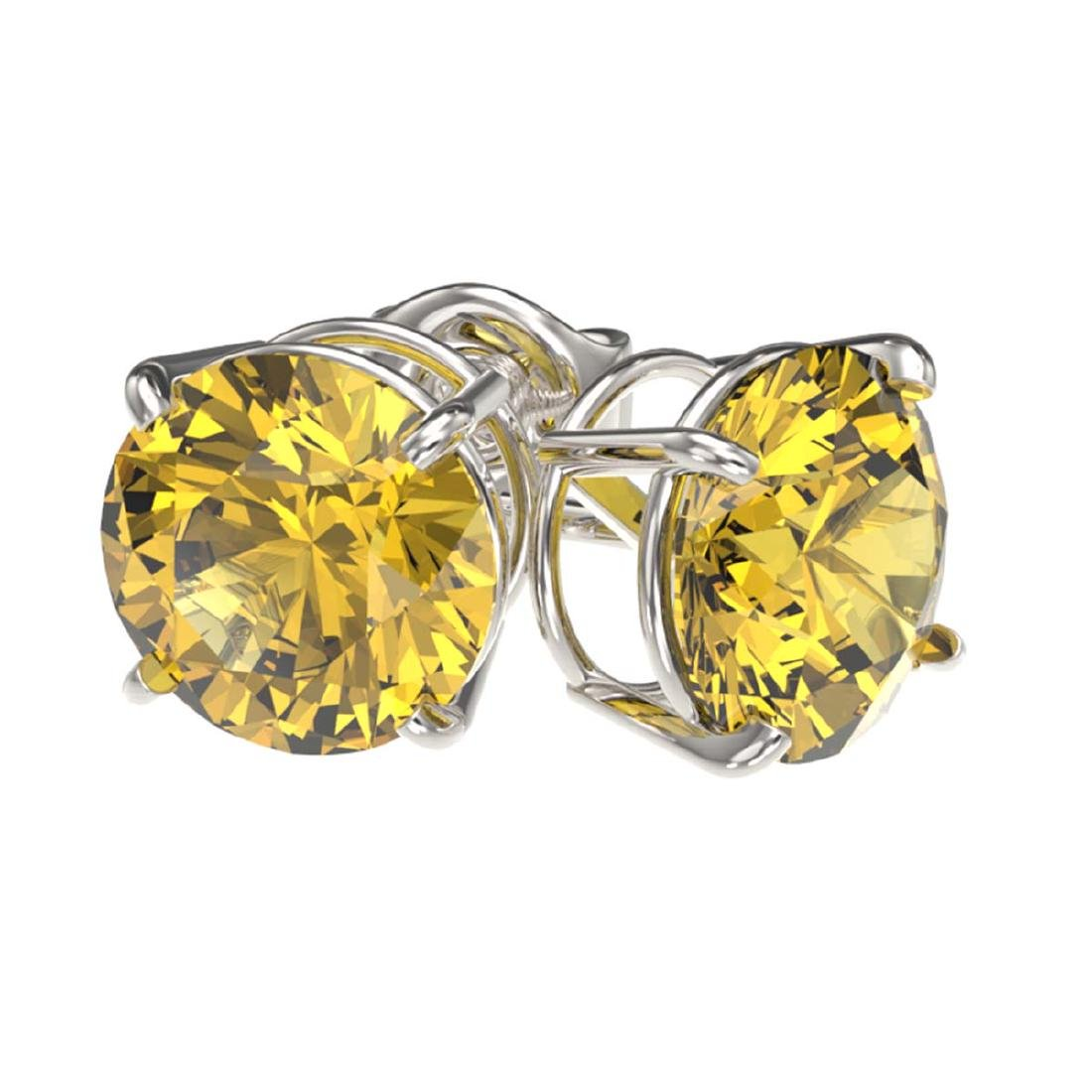 2 ctw Intense Yellow Diamond Stud Earrings 10K White - 3
