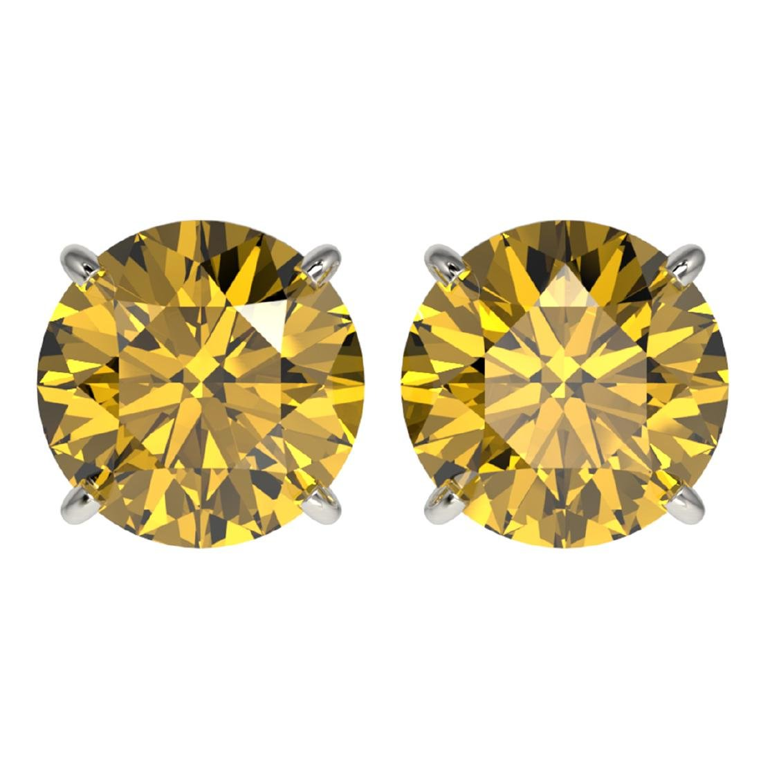 4 ctw Intense Yellow Diamond Stud Earrings 10K White
