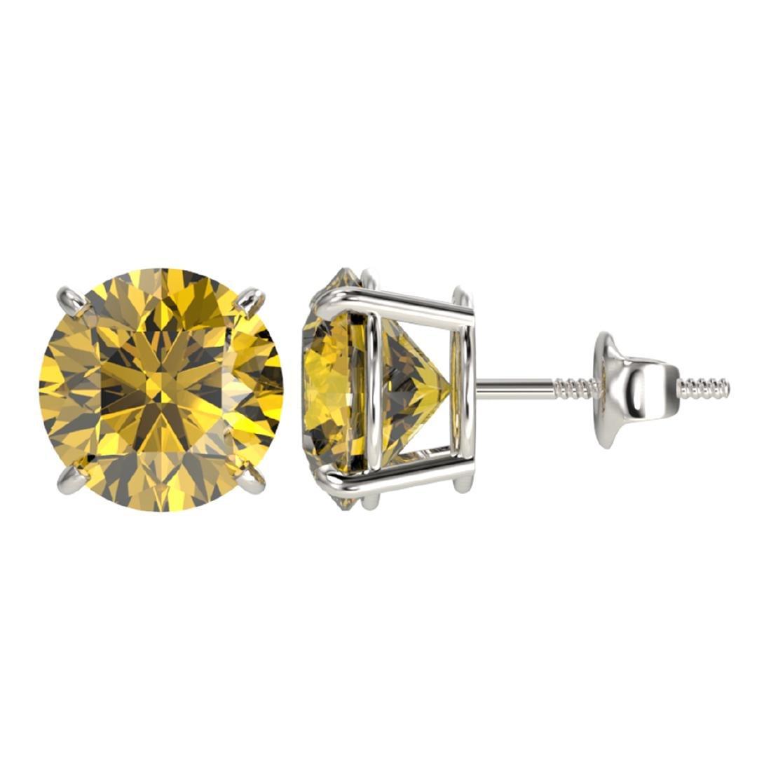 4 ctw Intense Yellow Diamond Stud Earrings 10K White - 2