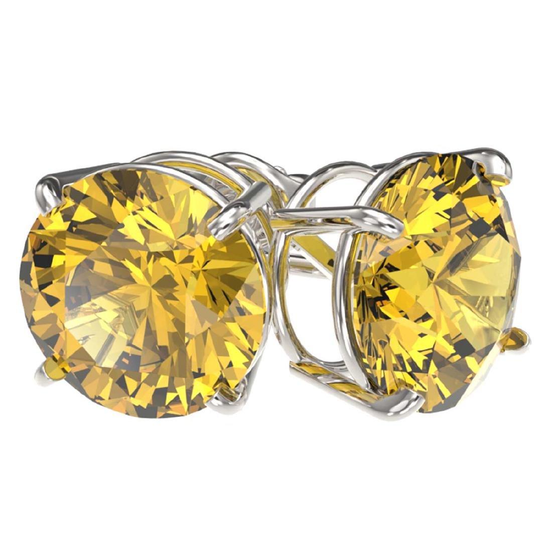 4 ctw Intense Yellow Diamond Stud Earrings 10K White - 3