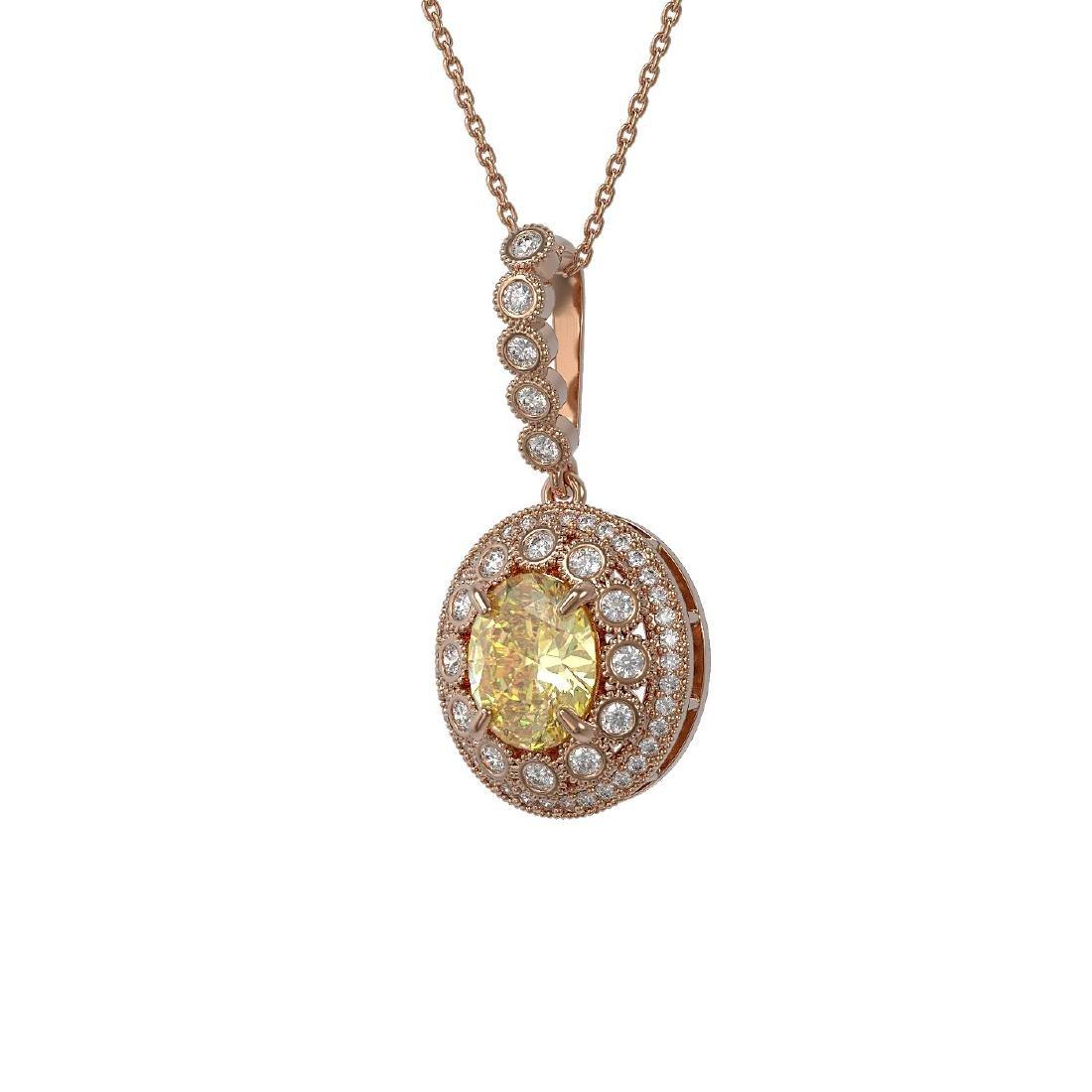3.87 ctw Canary Citrine & Diamond Necklace 14K Rose