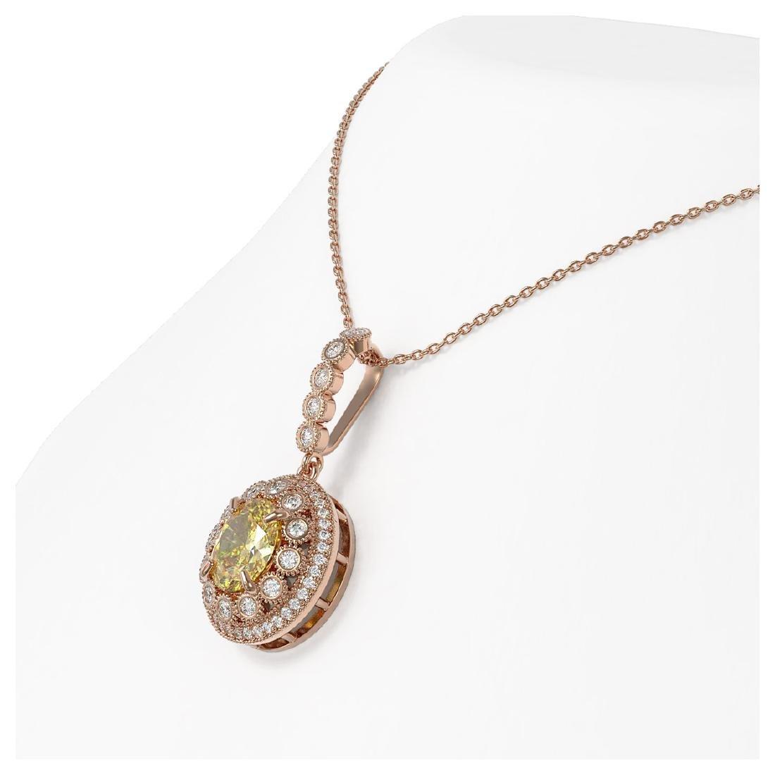 3.87 ctw Canary Citrine & Diamond Necklace 14K Rose - 3