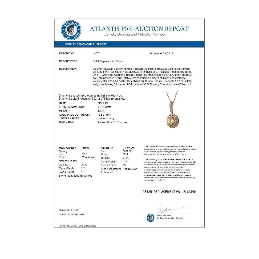3.87 ctw Canary Citrine & Diamond Necklace 14K Rose - 4