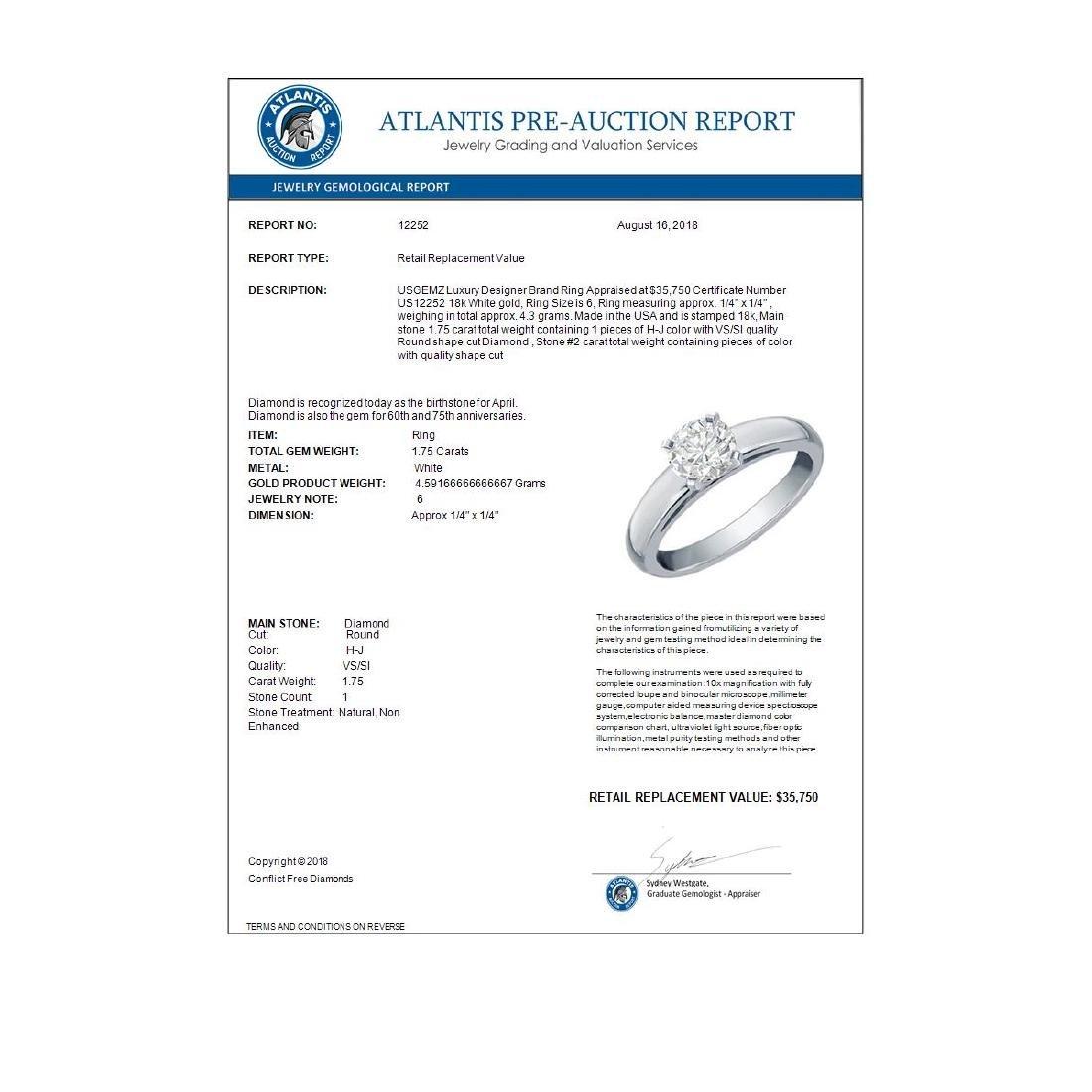 1.75 ctw VS/SI Diamond Solitaire Ring 18K White Gold - - 2