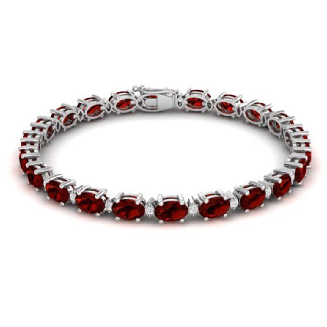 25.8 ctw Garnet & VS/SI Diamond Eternity Bracelet 10K