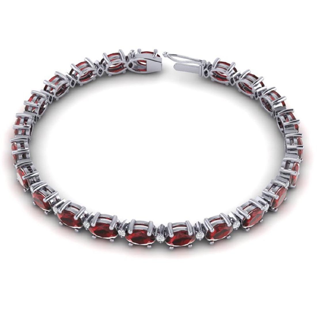 25.8 ctw Garnet & VS/SI Diamond Eternity Bracelet 10K - 2