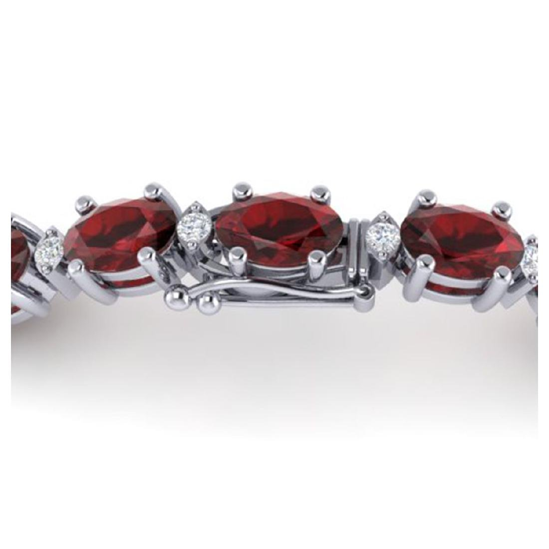 25.8 ctw Garnet & VS/SI Diamond Eternity Bracelet 10K - 3