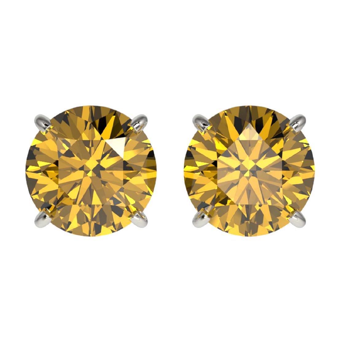 2 ctw Intense Yellow Diamond Stud Earrings 10K White