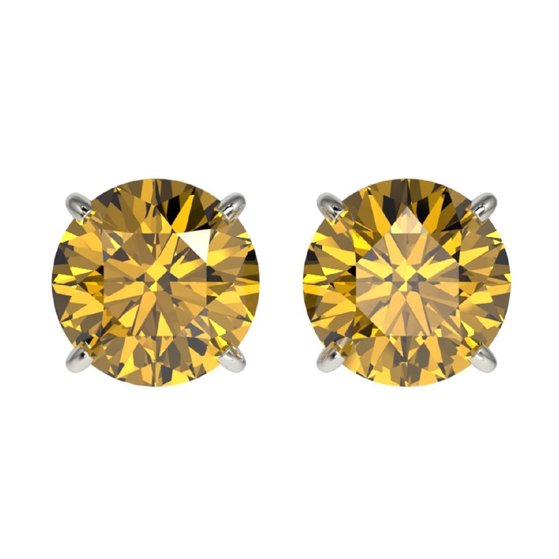 2.11 ctw Intense Yellow Diamond Stud Earrings 10K White