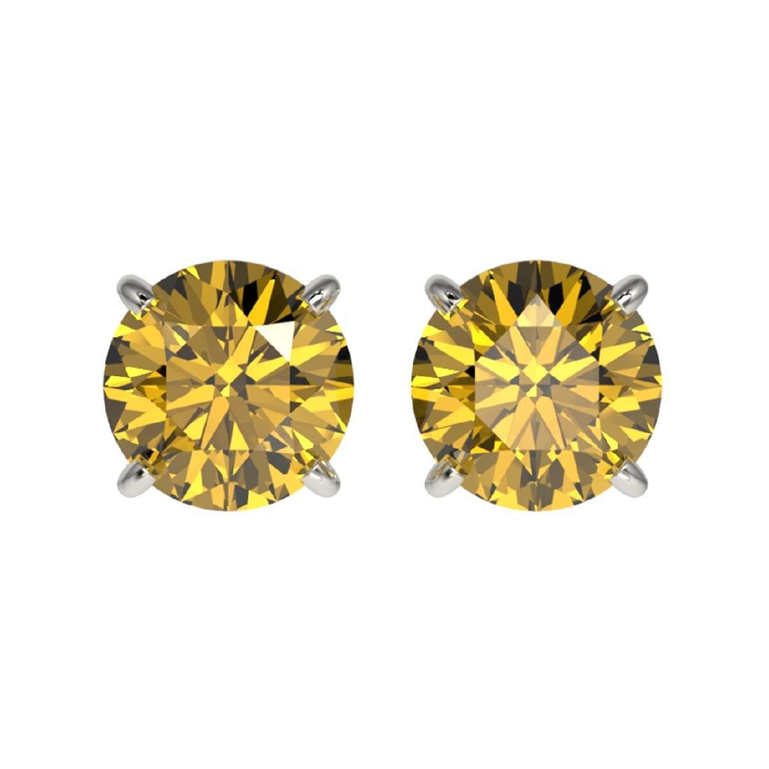 1.50 ctw Intense Yellow Diamond Stud Earrings 10K White