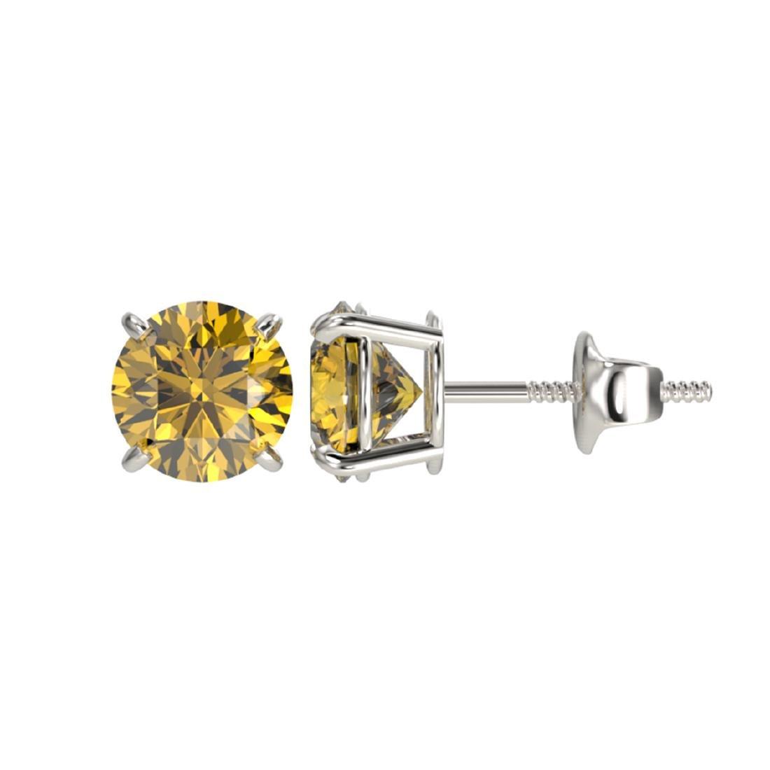 1.50 ctw Intense Yellow Diamond Stud Earrings 10K White - 2