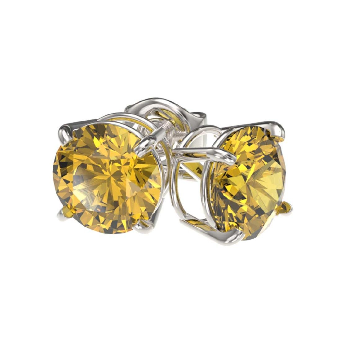 1.50 ctw Intense Yellow Diamond Stud Earrings 10K White - 3