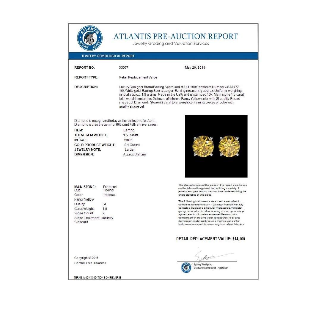 1.50 ctw Intense Yellow Diamond Stud Earrings 10K White - 4