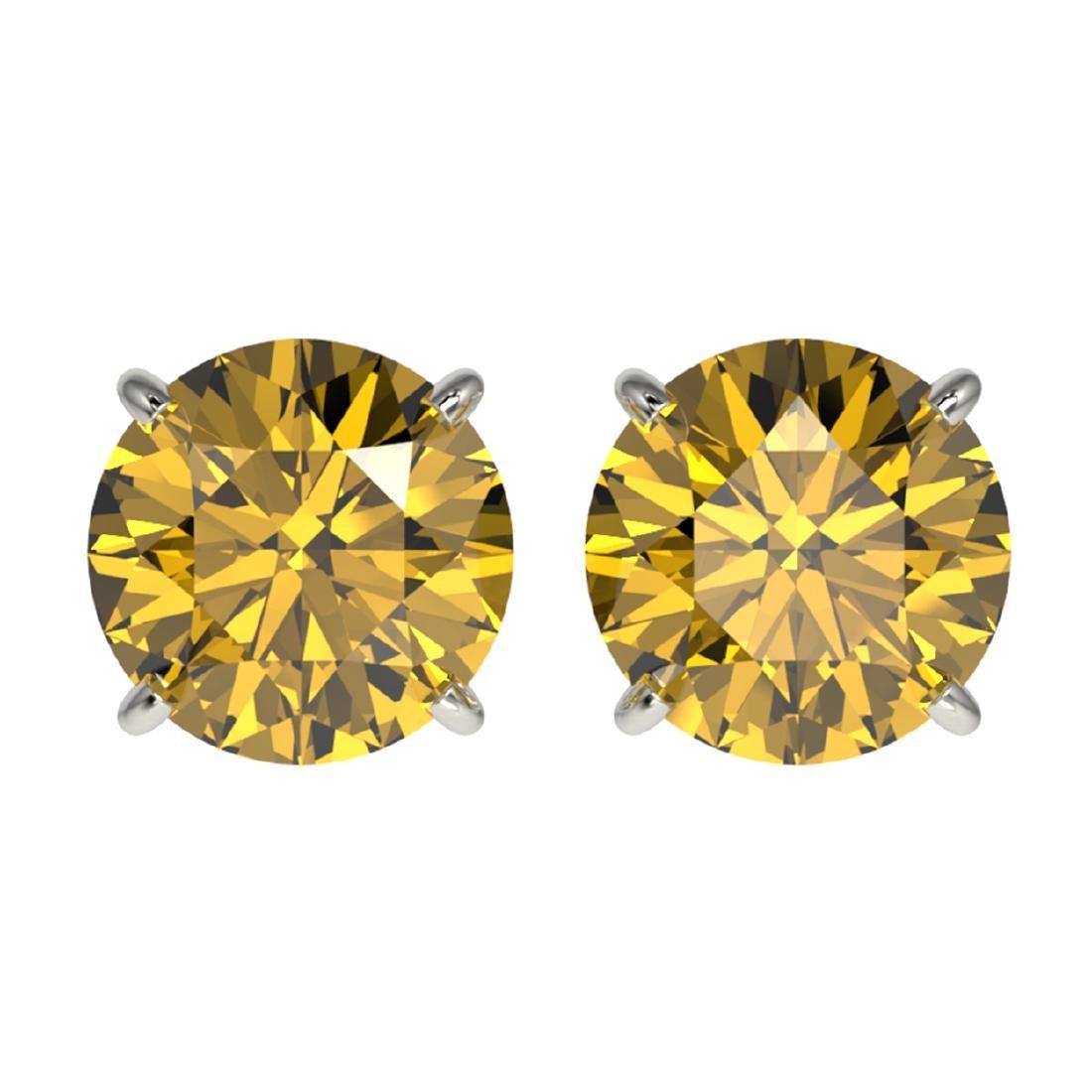 3 ctw Intense Yellow Diamond Stud Earrings 10K White