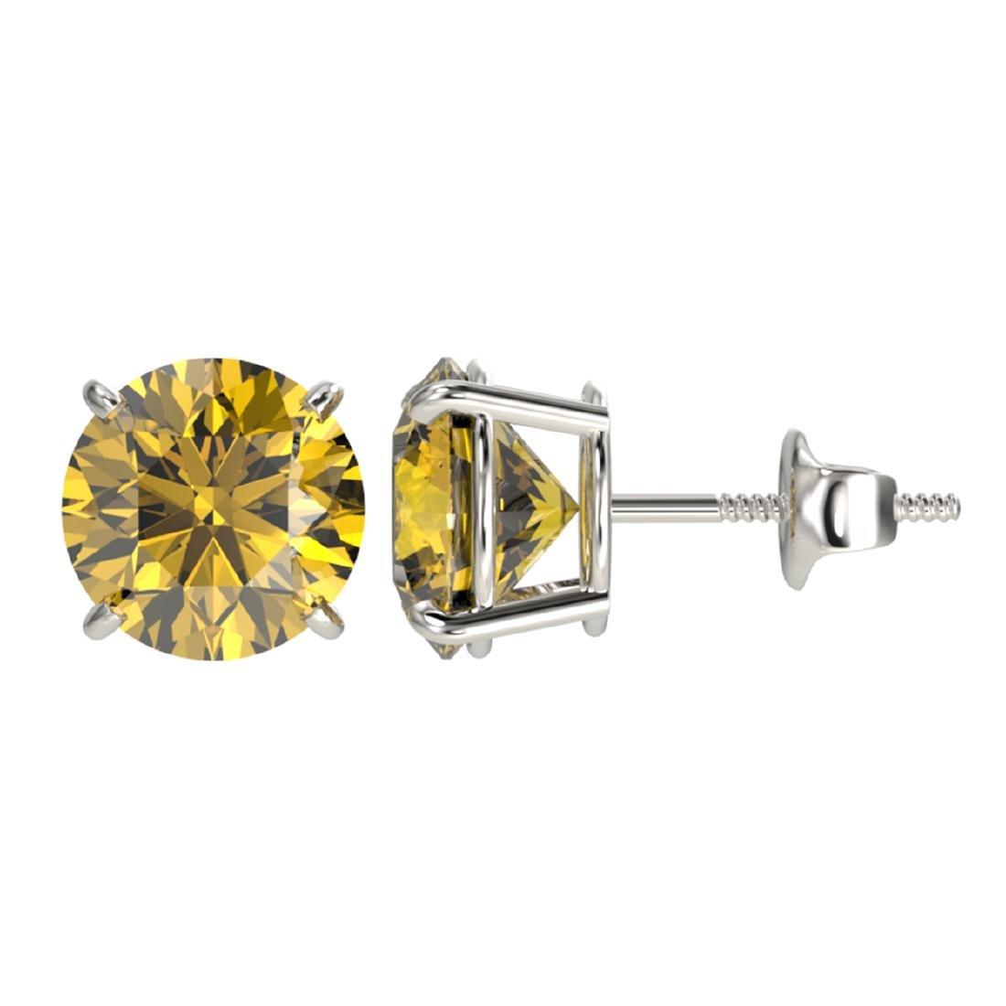 3 ctw Intense Yellow Diamond Stud Earrings 10K White - 2