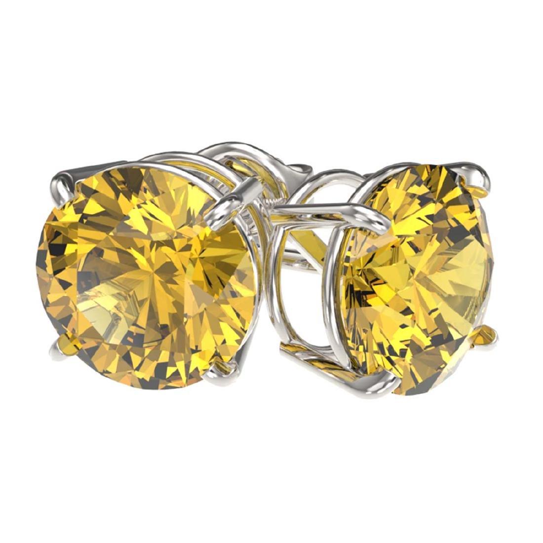 3 ctw Intense Yellow Diamond Stud Earrings 10K White - 3
