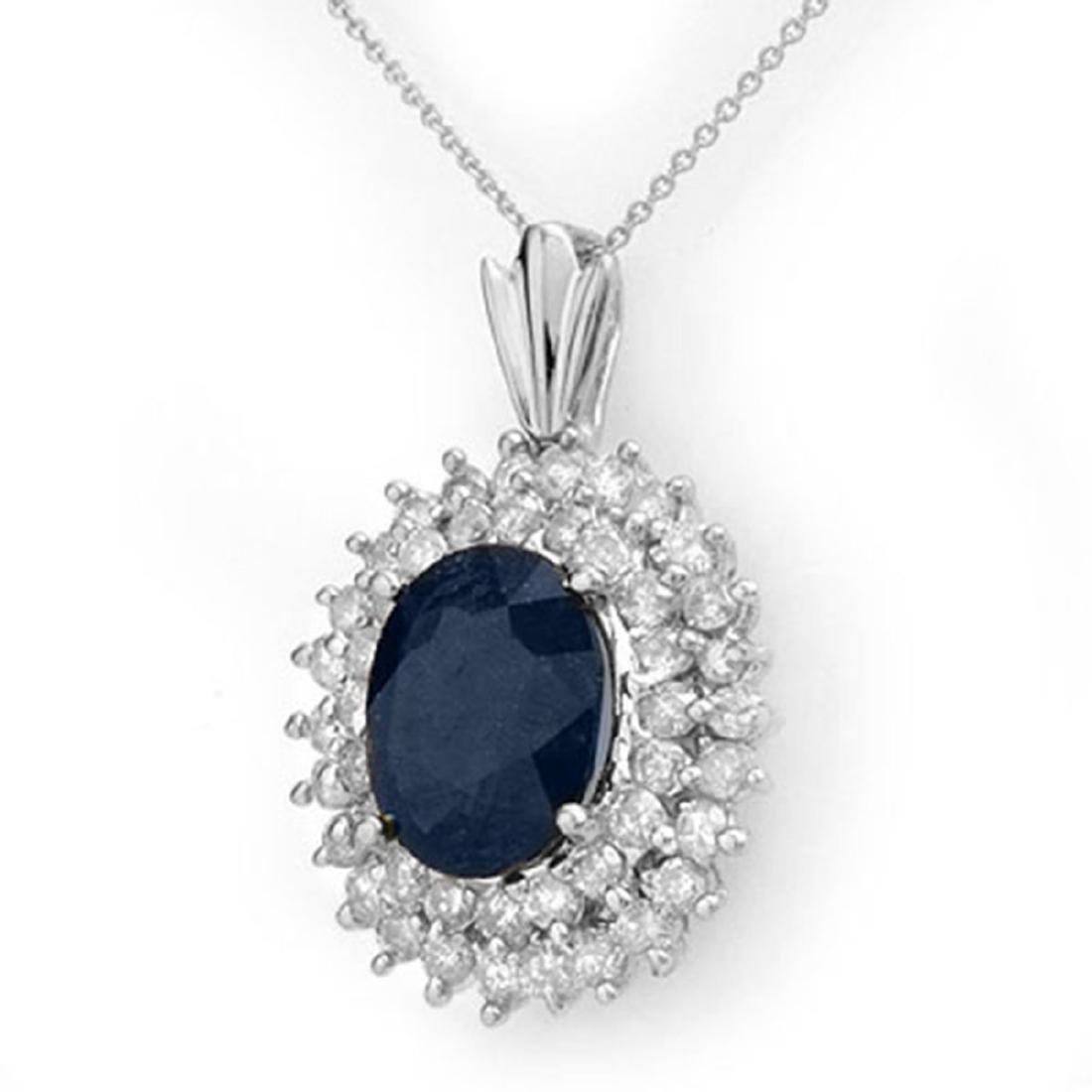 11.20 ctw Blue Sapphire & Diamond Pendant 18K White