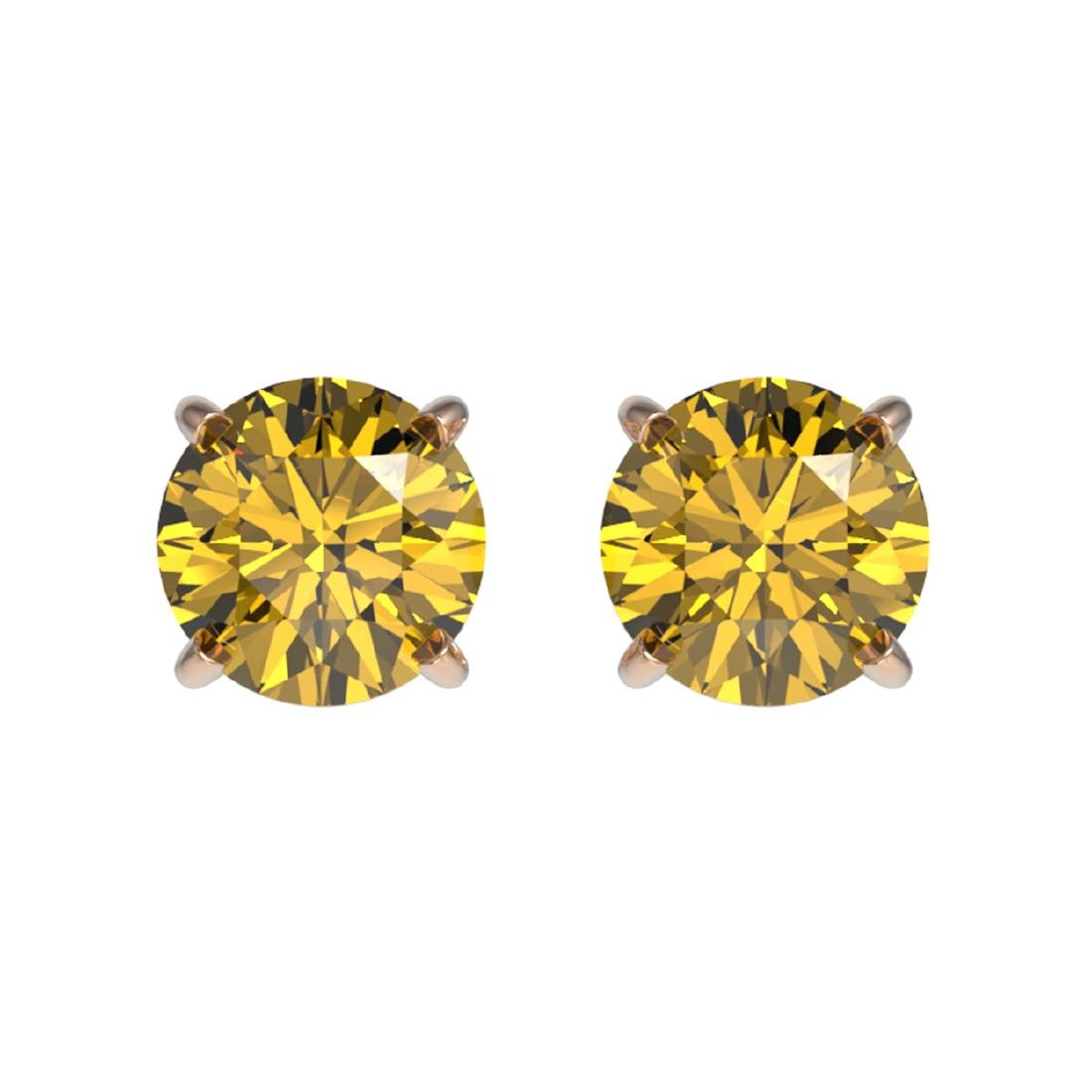 1.08 ctw Intense Yellow Diamond Stud Earrings 10K Rose