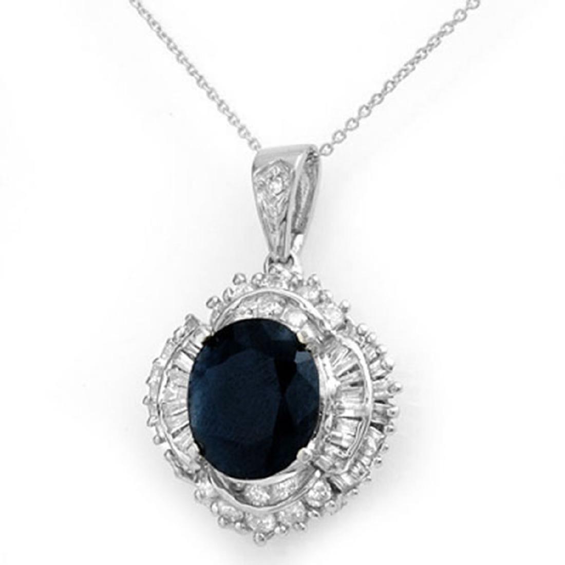 6.53 ctw Blue Sapphire & Diamond Pendant 18K White Gold