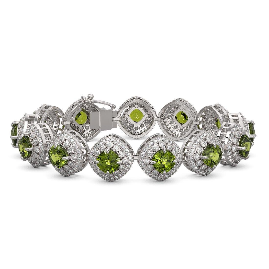 33.05 ctw Tourmaline & Diamond Bracelet 14K White Gold