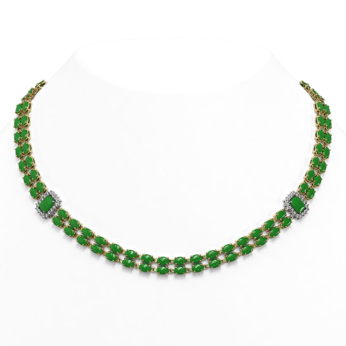 27.5 ctw Jade & Diamond Necklace 14K Yellow Gold -