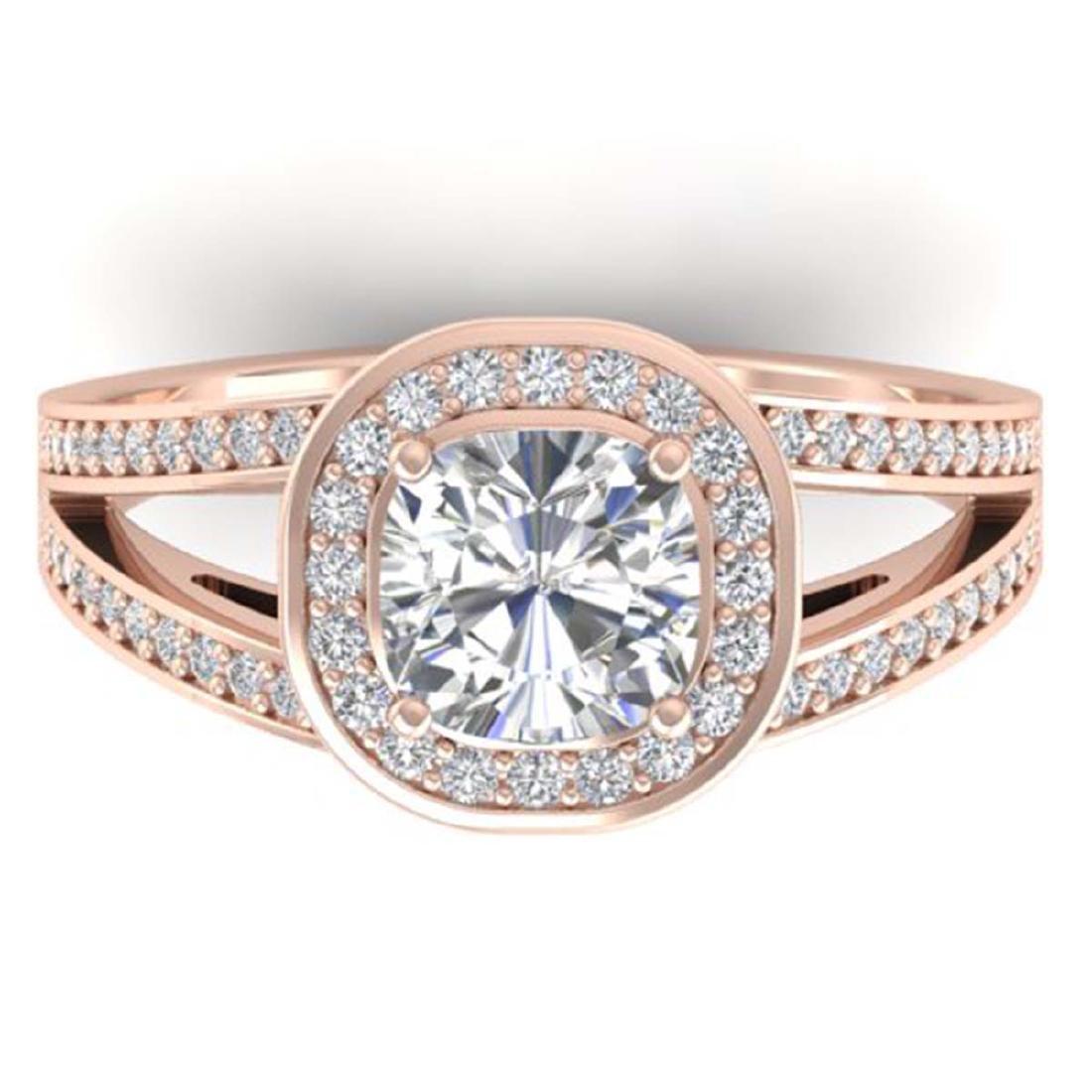 1.50 ctw VS/SI Cushion Diamond Art Deco Ring 14K Rose