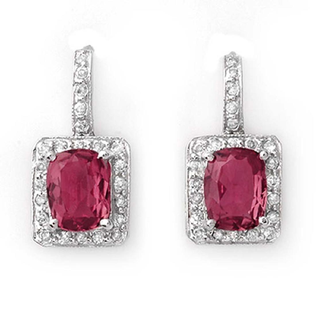 3.50 ctw Pink Tourmaline & Diamond Earrings 14K White