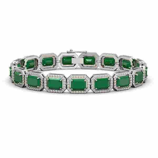 26.21 ctw Emerald & Diamond Halo Bracelet 10K White