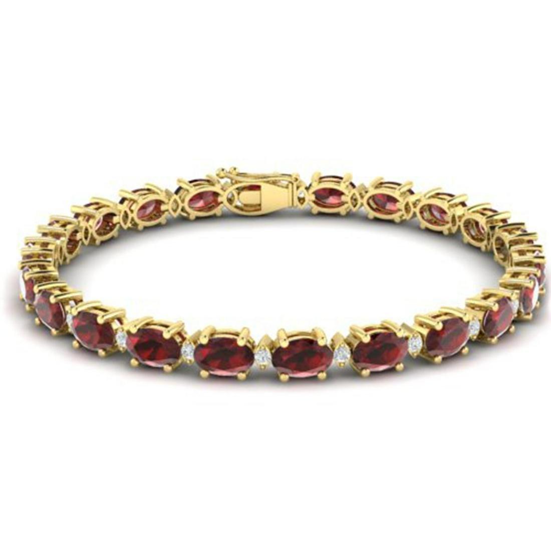 19.7 ctw Garnet & VS/SI Diamond Eternity Bracelet 10K