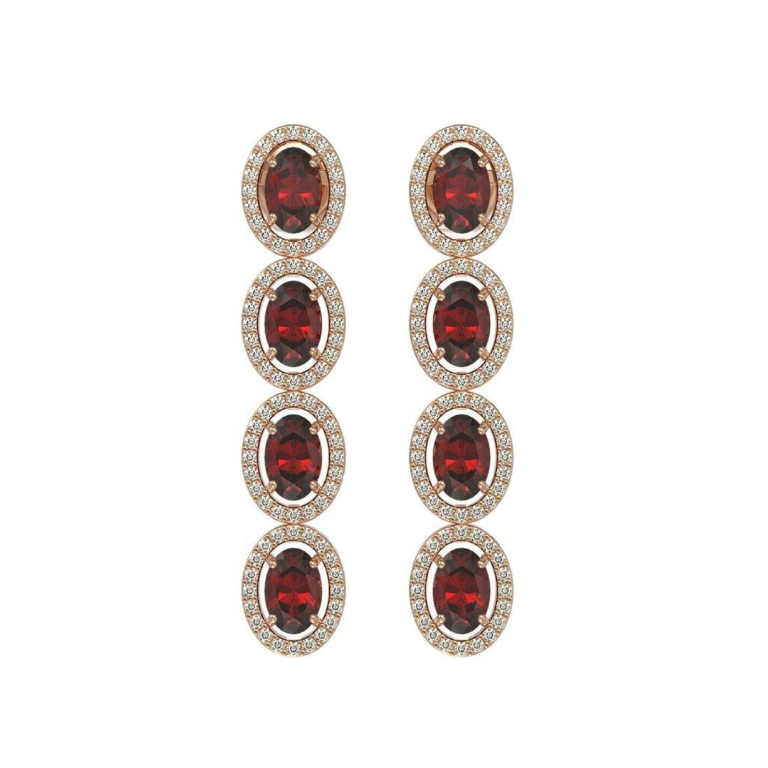 6.2 ctw Garnet & Diamond Halo Earrings Rose 10K Rose