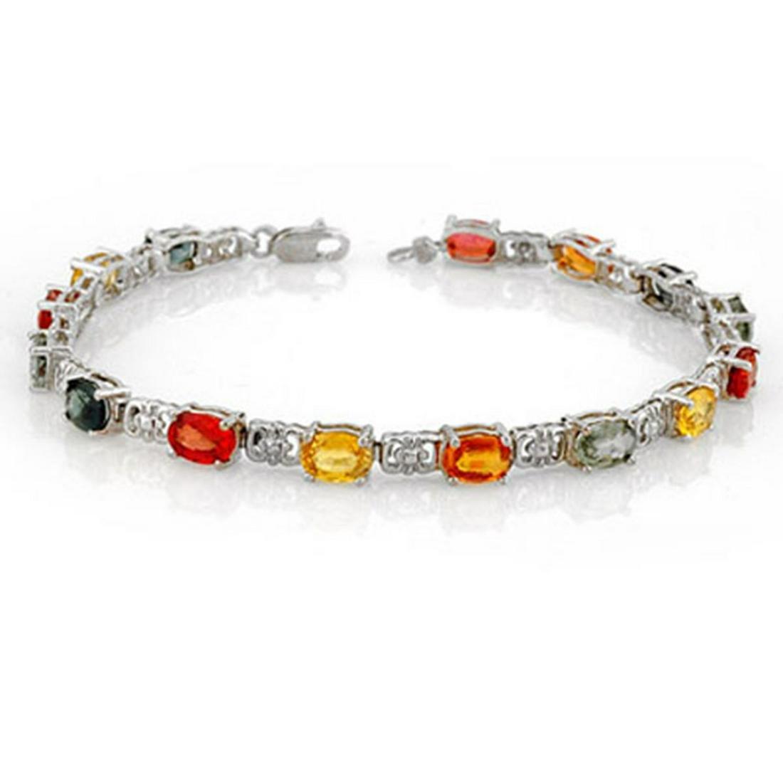11.0 ctw Multi-Color Sapphire Bracelet 10K White Gold -