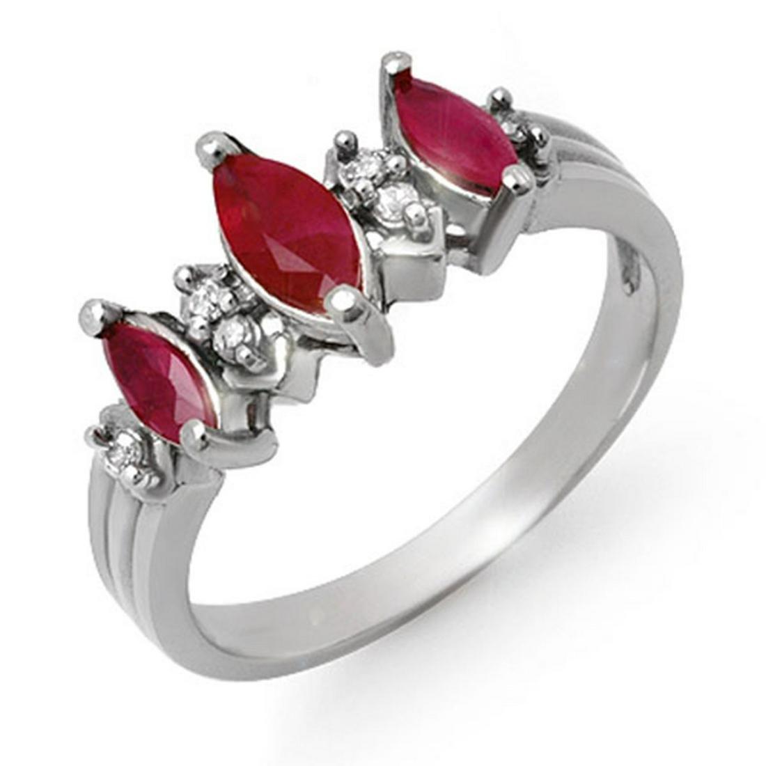 1.0 ctw Ruby & Diamond Ring 18K White Gold - REF-37N8A