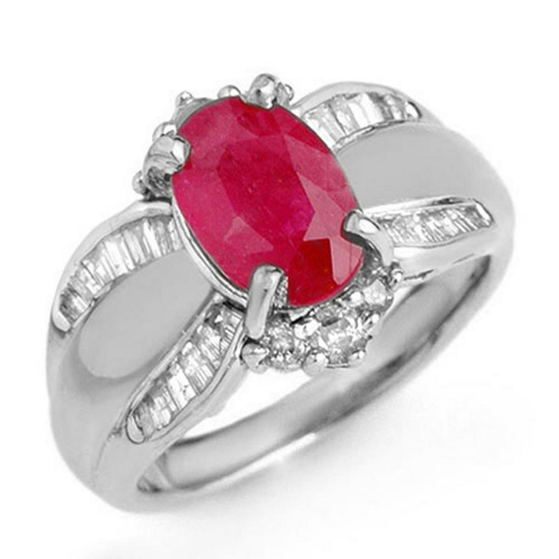 3.01 ctw Ruby & Diamond Ring 18K White Gold -