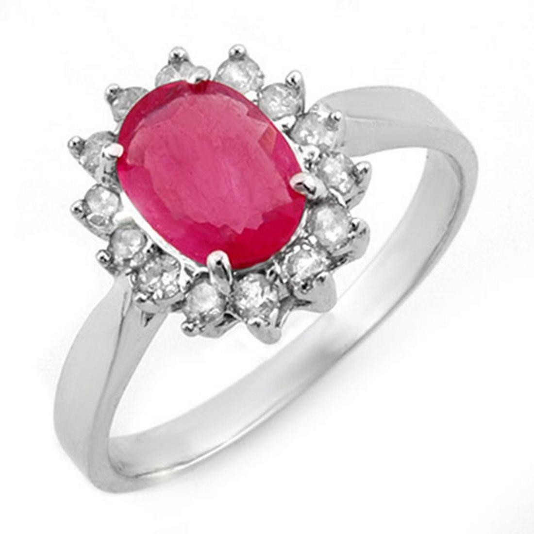 1.27 ctw Ruby & Diamond Ring 18K White Gold - REF-46V7Y
