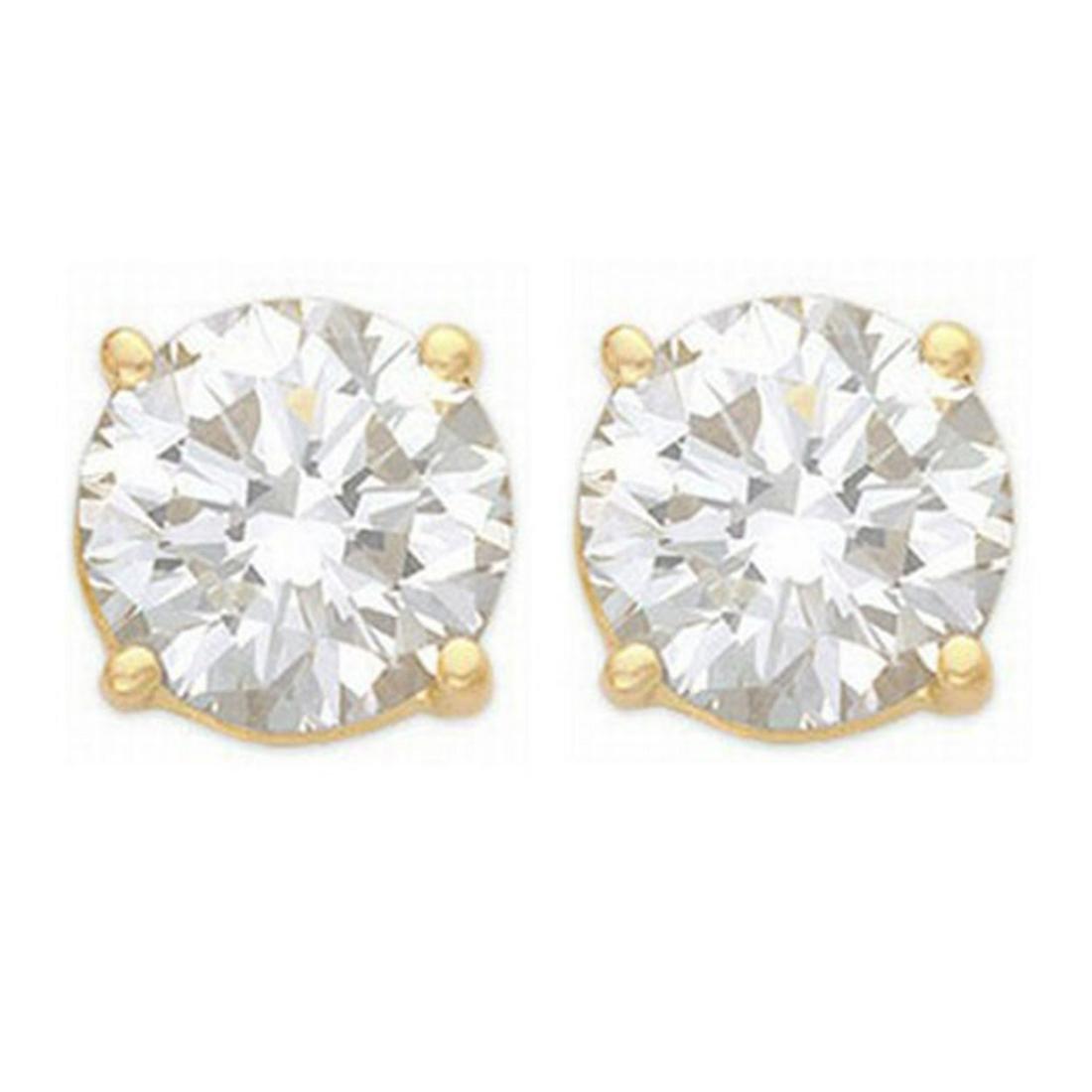 2.50 ctw VS/SI Diamond Stud Earrings 14K Yellow Gold -