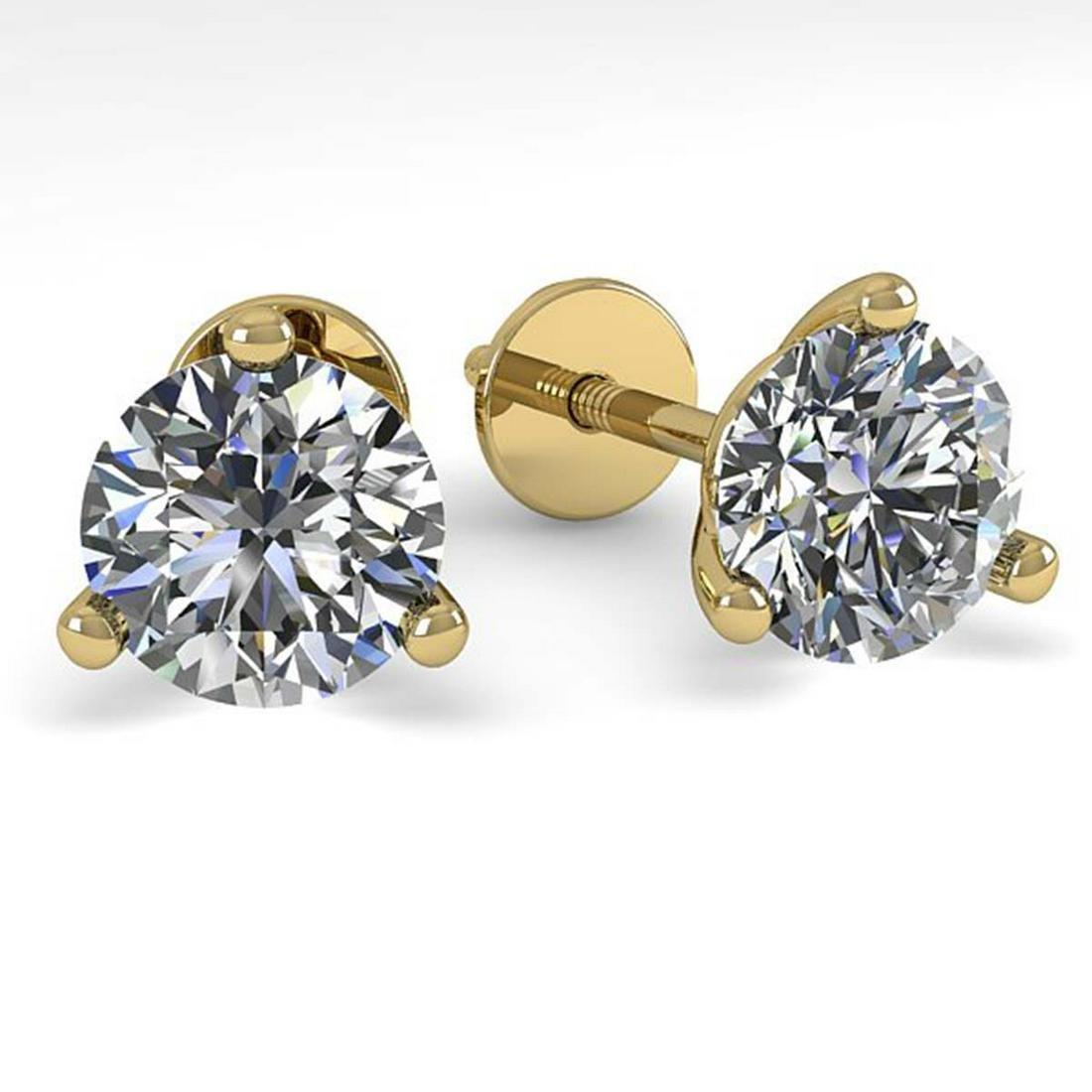 1.01 ctw VS/SI Diamond Stud Earrings 14K Yellow Gold -