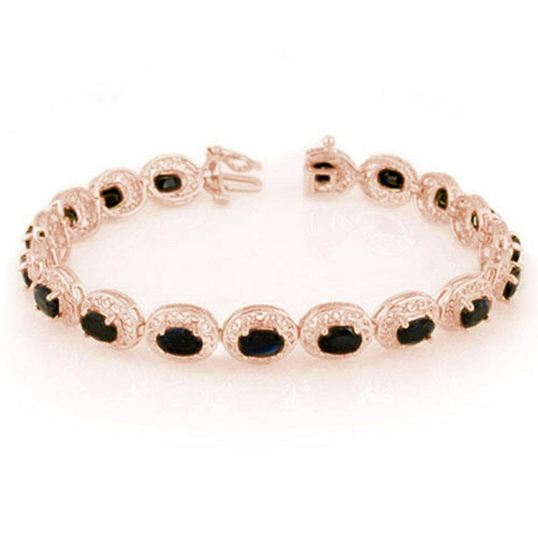 12.0 ctw Blue Sapphire Bracelet 10K Rose Gold -