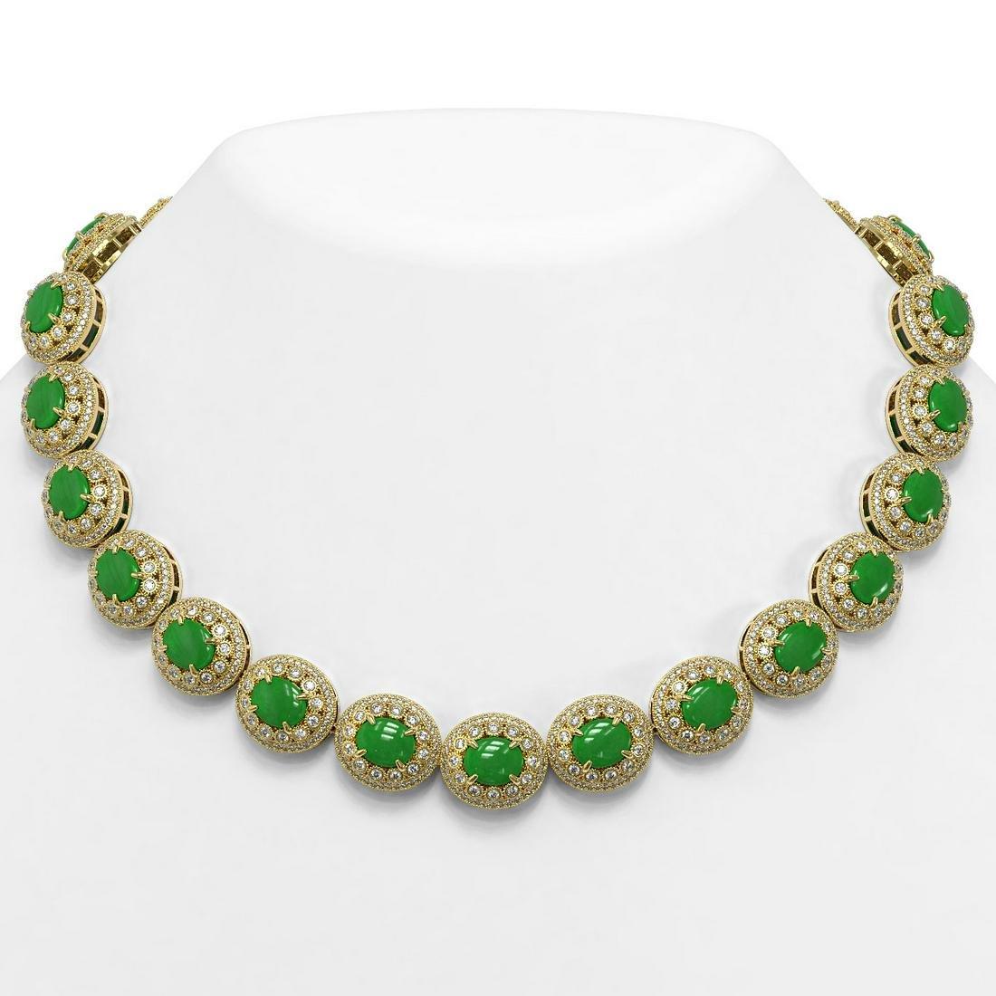 101.75 ctw Jade & Diamond Necklace 14K Yellow Gold -