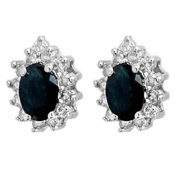 5.46 ctw Blue Sapphire & Diamond Earrings 18K White