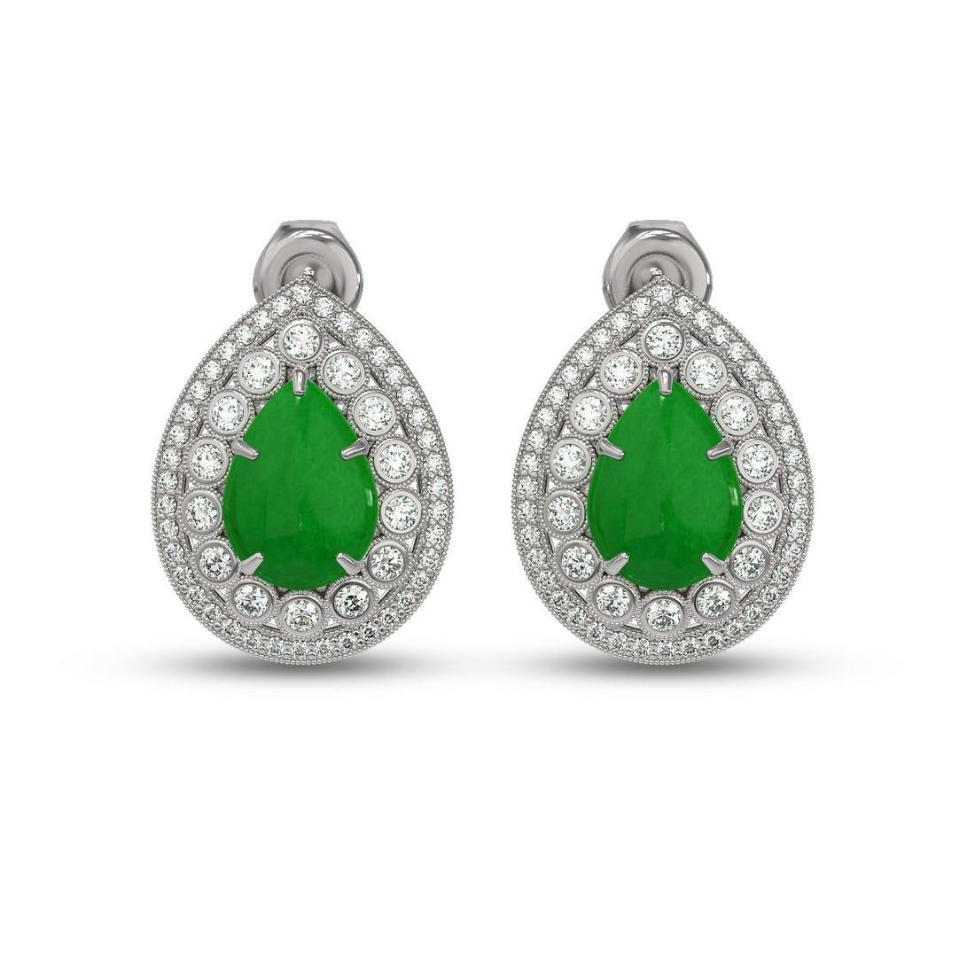 7.74 ctw Jade & Diamond Earrings 14K White Gold -