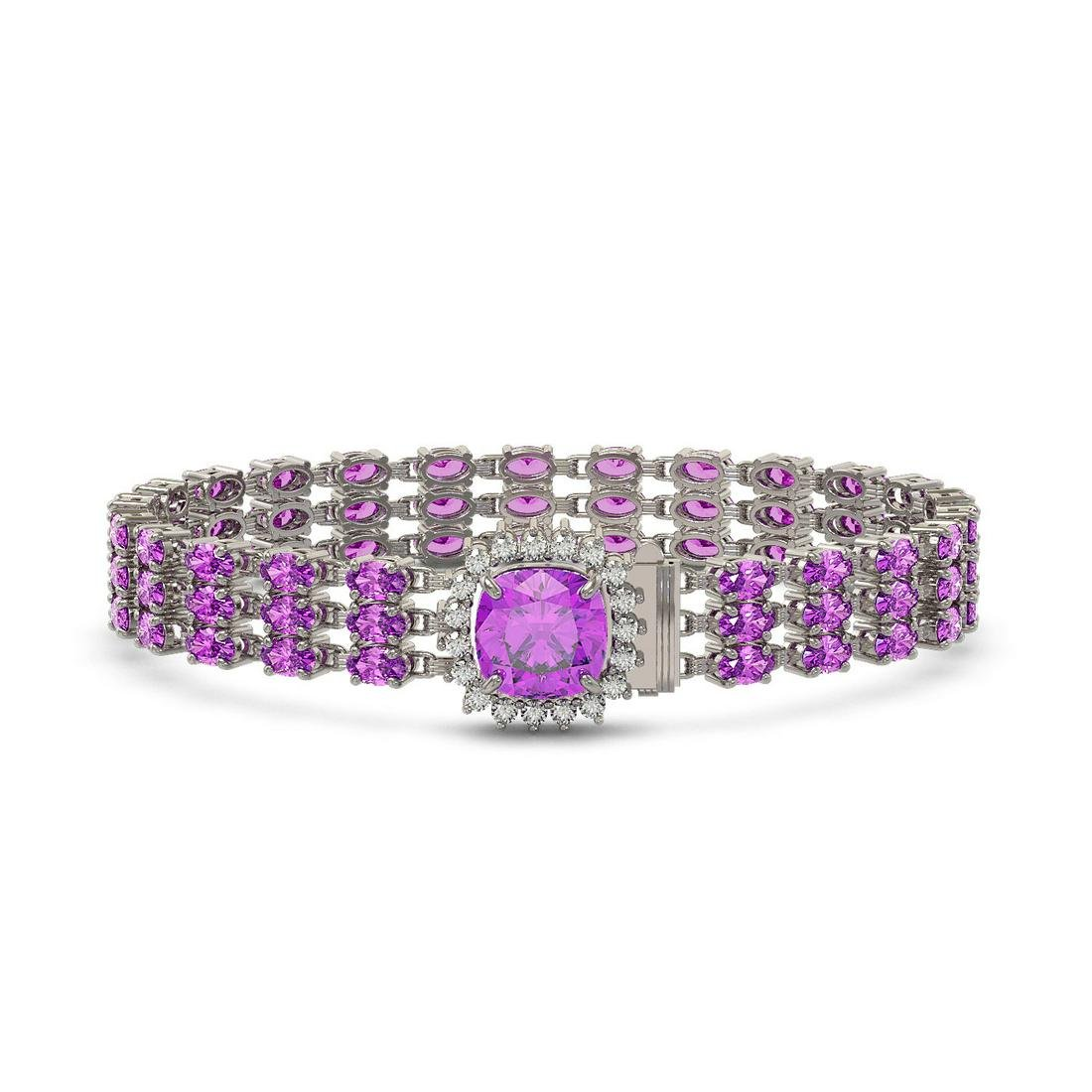 24.75 ctw Amethyst & Diamond Bracelet 14K White Gold -